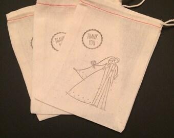Set of 10 Wedding Favor Muslin Bags - 4x6