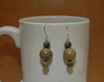 Earthy Green and Orange Beaded Earrings.