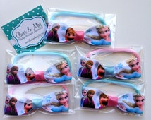 5-10 Packs Princess Hair Bow Elastic Hair Ties Frozen Birthday Party Favour Ideas for take home bags and Pinatas