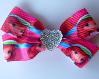 Strawberry Shortcake Hair Bow Clip with Heart Sparkle Bling