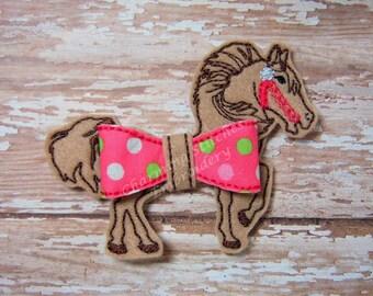 Horse Bow / Horse Carousel  Bow -  In the Hoop bow Felt Bow  bow  headband embellishment in the hoop bow