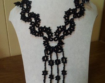 Black Tatted Beaded Necklace