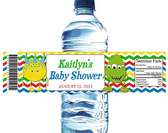 Little Monster Baby Shower Water Bottle Wrapper Party Favor Digital or Printed FREE SHIPPING