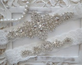 Wedding Garter Set, Bridal Garter Set, Vintage Wedding, Lace Garter, Crystal Garter Set - Style 100A
