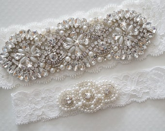 Wedding Garter Set, Bridal Garter Set, Vintage Wedding, Pearl Garter, Crystal Garter Set