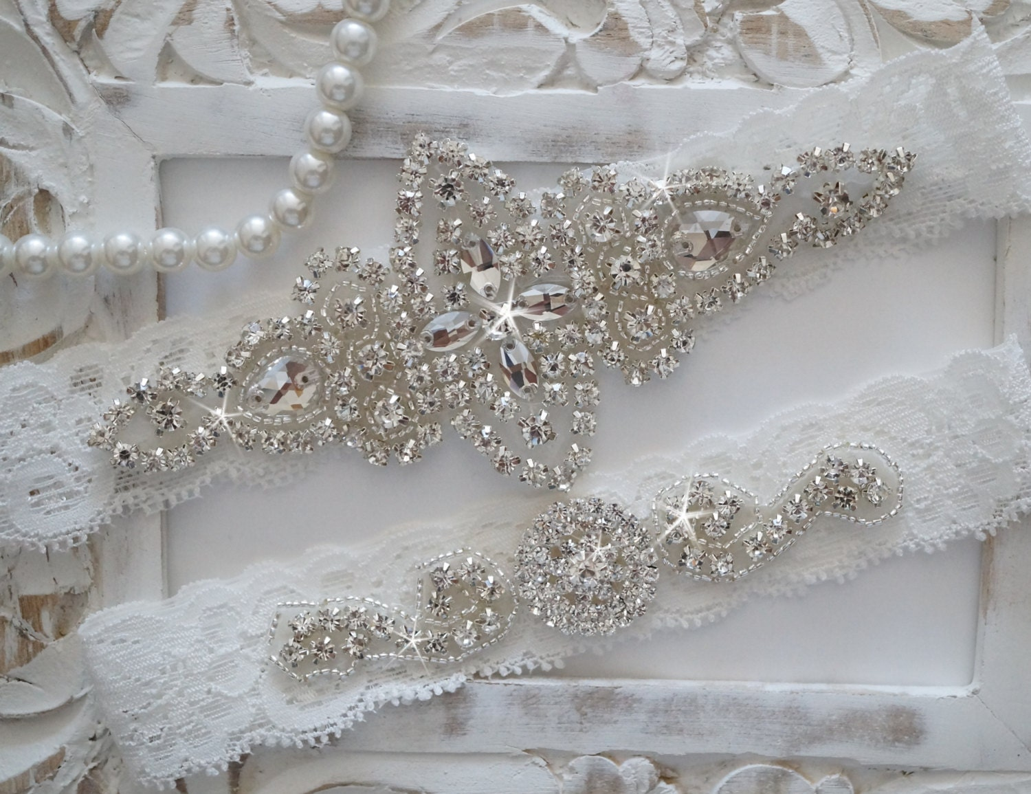 Wedding Garter Set Bridal Garter Set Vintage Wedding Lace
