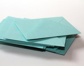 25 Mini Aqua Blue Envelopes - Pool Blue Envelopes - 2.6875 x 3.6875 inches - Guest Book Envelopes - Mini Teal Envelopes - Mini Aquamarine