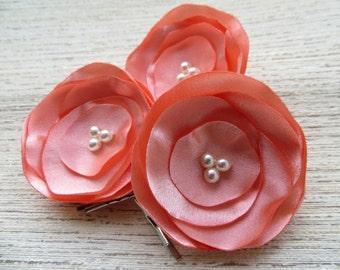 Peach wedding bridal, bridesmaids flower hair clips(3 pcs) , bridal hair accessories, bridal floral headpiece, READY TO SHIP