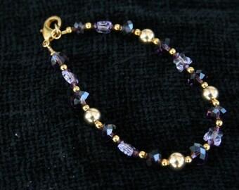 Purple Gold Amethyst Bracelet