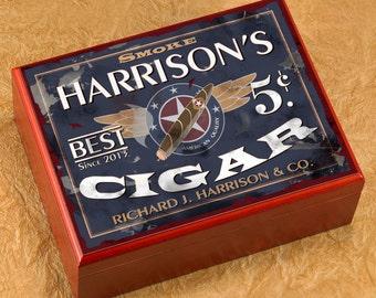 Cedar Cigar Humidor - Personalized Cigar Humidor - Custom Humidor - Groomsmen Gift - Cigar Gifts - Gifts for Men - GC464 Patriot