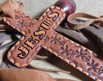 Leather Jesus Cross