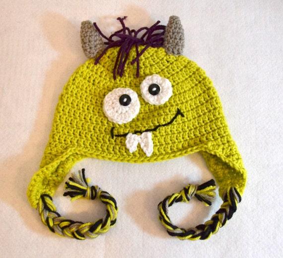 Kleinkind-Monster-Hut gelb grünes Monster häkeln
