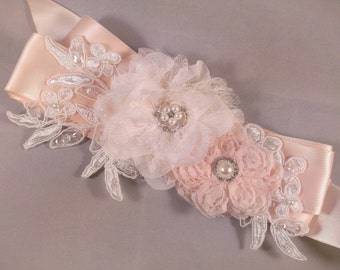 Champagne Blush And Ivory Bridal Sash Belt With Lace Flowers and Lace Applique - Lace Bridal Sash