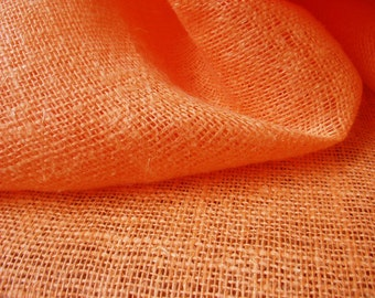 "Orange Linen Flax Burlap Fabric Cloth Decorator - Medium weight - Width 39"" - ECO-friendly - Sold By The Yard"