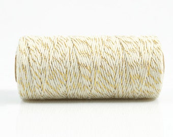 GOLD + WHITE TWINE - Metallic Gold & White Two-tone Twisted Cotton String / Bakers Twine (100 meter spool)