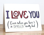 Fart Lover. Blank. Love. Funny. Cute. Lettering. I love you. Anniversary. Valentine. 100% Percent Recycled Paper.