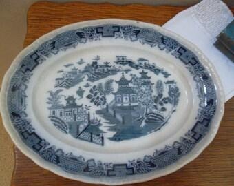 "Vintage Bristol Ironstone Platter - ""Mandarin"" Blue and White"