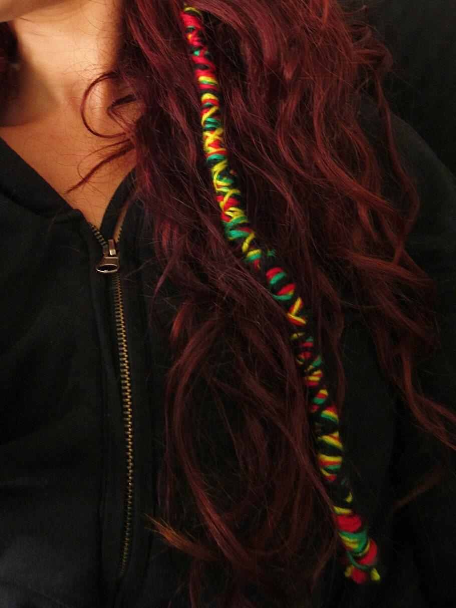 Rastafarian coloured woolen dreadlock extension hippie easy