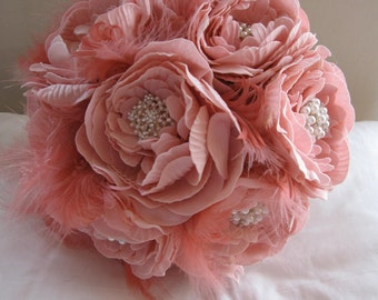 Handmade bridal bouquet of artificial roses, rhinestone & pearl brooches and feathers