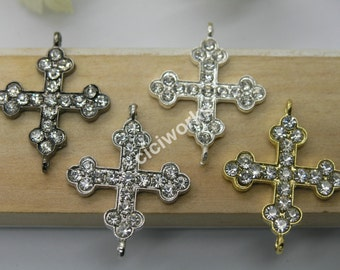 Wholesales:10pcs 31mmx24mm Rhinestone Gothic Cross Pave Curve Sideway Cross Bracelet Connector Charms Beads U Pick!