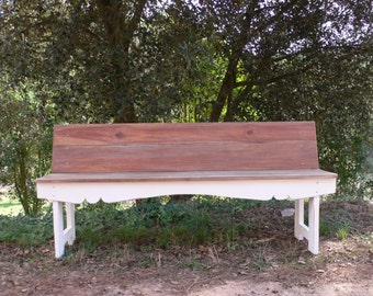 Painted white wood bench