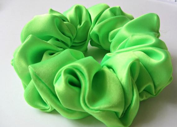 Green Scrunchie Green Scrunchie Lime Green Satin Hair