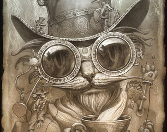 Steampunk Cat // 8 X 10 PRINT // Madhatter Cat print // Victorian Cat print // Steampunk Victorian Cat Decor // Steampunk art