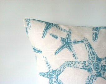 Nautical Aqua Pillow Cover - 18 x 18, One, Starfish Beach Pillows, Ocean Decor, Turquoise Pillow, Starfish Decor, Beach Decor