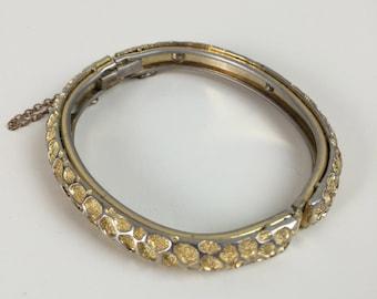 coral texture gold bangle bracelet