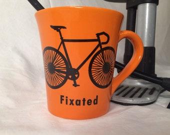 orange bicycle mug , Fixie bike mug, fixated Funny biking enthusiast bikathon gift for triathlete