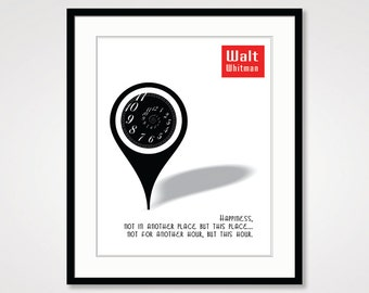 Walt Whitman quote literary art print literary gifts literature poster literature art literature decor black and white art literary quote