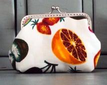 Tropical fruit purse, metal frame coin purse
