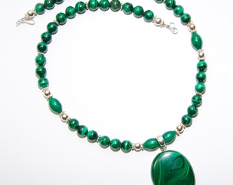 Malachite & Sterling Necklace and Earrings #132