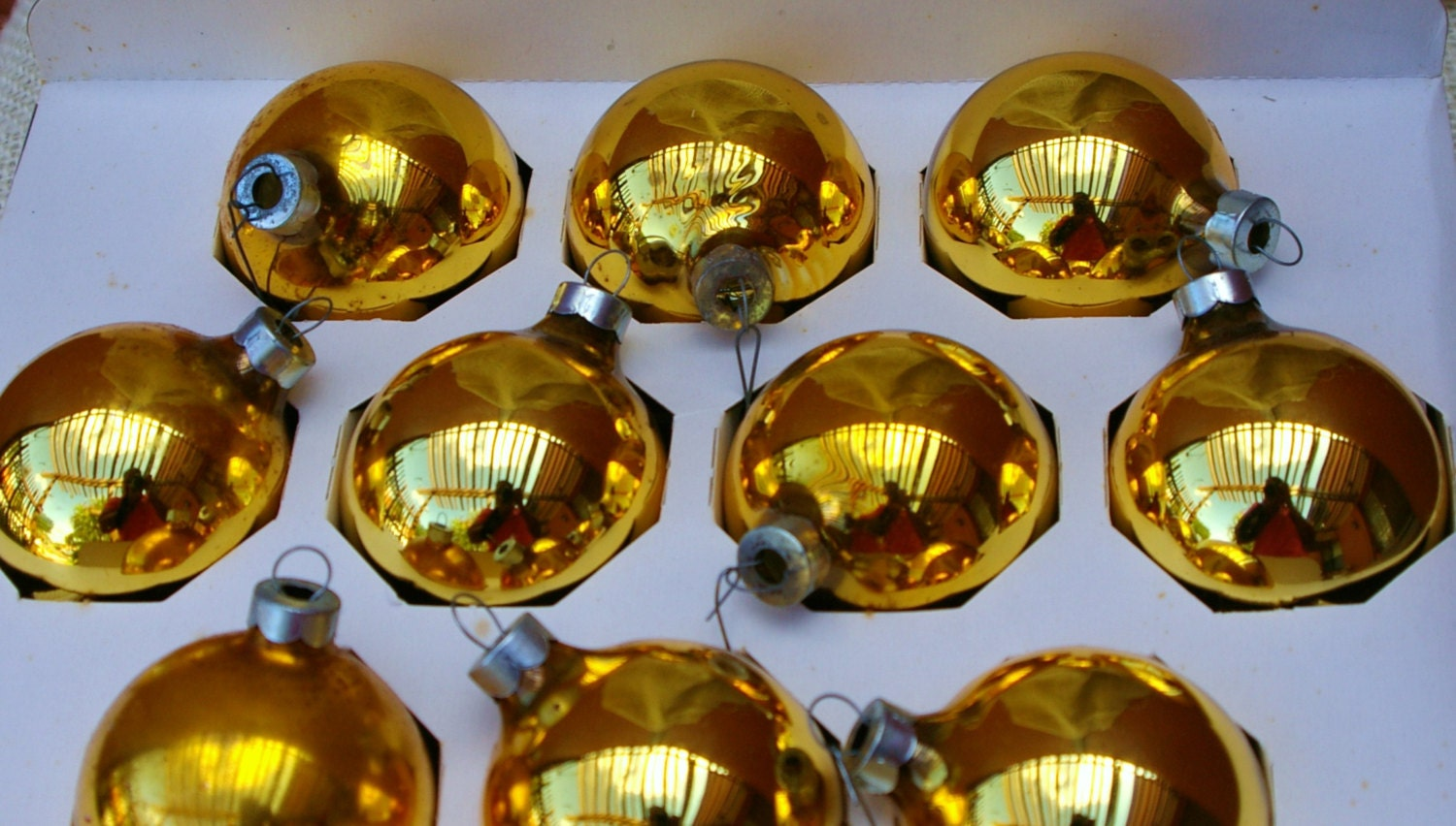 Vintage Gold glass Ball Christmas Ornaments Set of 10