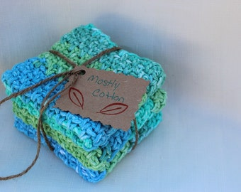 Crocheted Cotton Dishcloths, Tie Dye, Ocean Colors, Gifts Under 20.00,