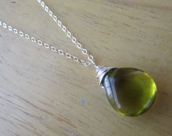 Sterling Silver Necklace,Olive Glass Necklace,Birthday Gift,Anniversary,Gift, Smooth Olive Teardrop Glass Necklace