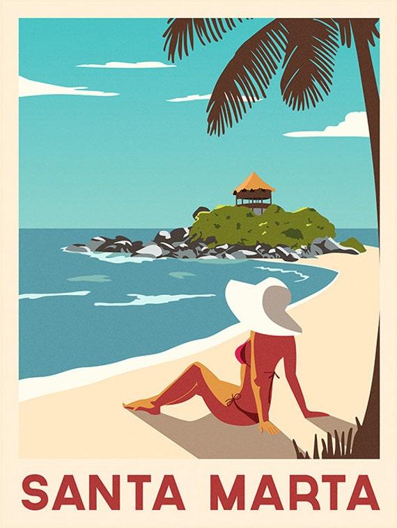 Caribbean Poster Santa Marta Travel Print By Considergraphics