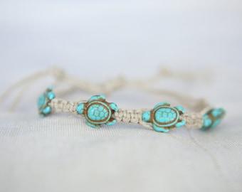 Turtle Bracelet - Hemp Bracelet - Macrame Bracelet - Friendship Bracelet - Hippie Bracelet