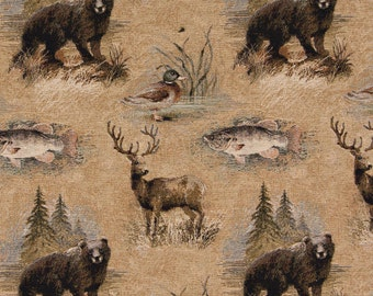 Popular items for wildlife fabric on etsy for Fishing themed fabric