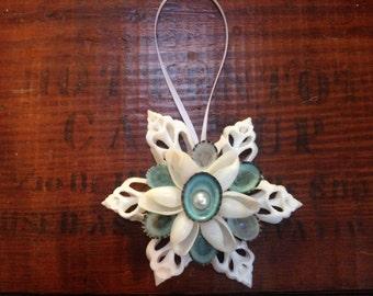 White Cut Shell Ornament w/ pearl