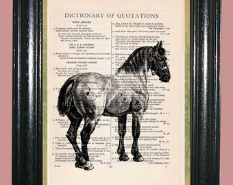 Work Horse Vintage Dictionary Book Page Art Print Beautiful Upcycled Page Art Home Decor Collage Art Print