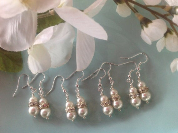 Pearl bridal earrings, bridal jewelry set, pearl bridal jewelry, Swarovski earrings, pearl earrings, bridesmaid earrings, handmade