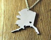 Wholesale Love Alaska necklace, personalized I heart Alaska pendant,custom map jewelry, custom Alaska necklace,valentines day gift for her