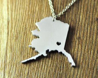 Love Alaska necklace, personalized I heart Alaska pendant,custom map jewelry, custom Alaska necklace,valentines day gift for her