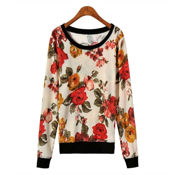 Vintage Kpop pullover sweater floral sweatshirt black white rose blouse jacket Top Retro dress flower Long sleeves preppy European  party