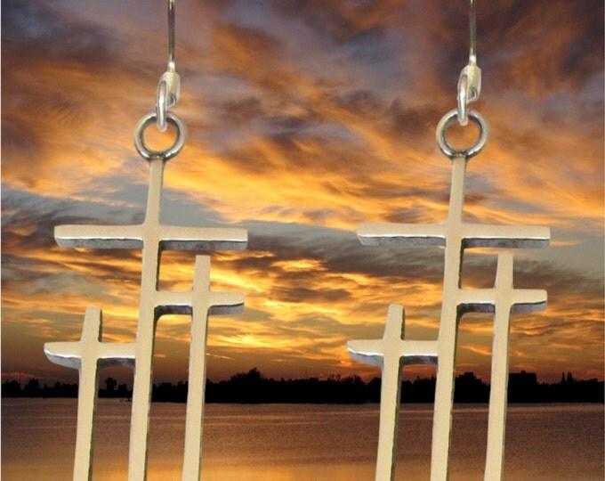 Silver Gold Calvary 3 Cross Earrings Necklace Pendant Set Womens Girls Christian Jewelry - Saint Michaels Jewelry - Calvary Three Cross