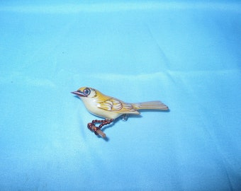 Takahashi Bird Brooch Pin, Yellow Warbler, Wood,  Hand Carved by Yoneguma  & Hand Painted by Kiyoka, Japanese, Jewelry