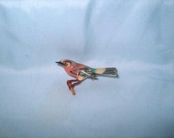 Takahashi Bird Brooch Pin, Wood, Hand Carved by Yoneguma  & Hand Painted by Kiyoka, Japanese, Jewelry