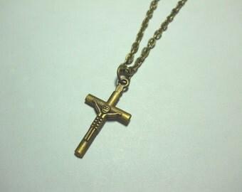 SALE - Small Cross Charm Pendant - Men's Necklace, Women's Necklace, Antique Bronze Tone, Flat Link Chain (shown), Ball Chain
