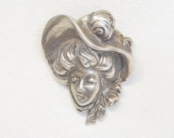 Antique Pin - Antique Victorian Sterling Silver Gibson Girl Brooch